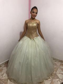 Vestido De Xv Años Hueso Oro