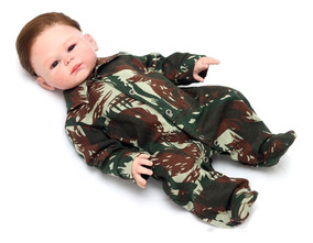 Macacão Enxoval Bebê Menino Militar