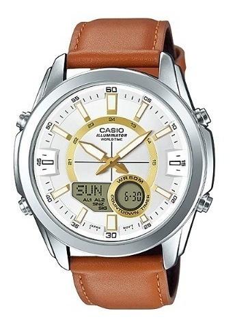 Relógio Casio Masculino Couro Amw-810l-5avdf Loja Autorizada