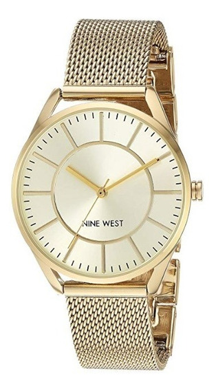 Nine West Goldtone Pulsera De Malla De Reloj Dama Mujer