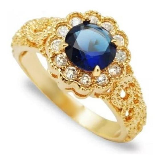 Anel Clássico Com Pedra Azul Marinho Cravejado
