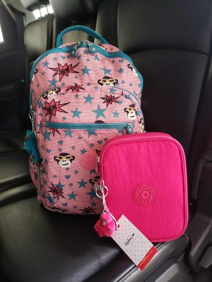Kit Mochila Escolar Kipling Seoul Go Pink Monkey + 100 Pens