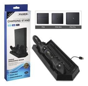 Base Vertical Ps4 Fat Slim Pro Carregador Cooler 2 Controles