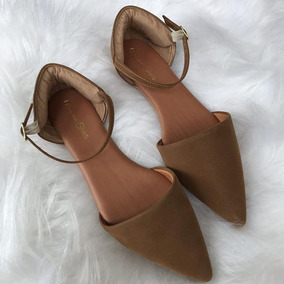 92e9f7f773 Sapatilha Salomé Bico Fino Nobuck Marrom Claro Mirian Shoes