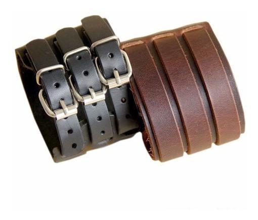 Kit 2 Braceletes De Couro 3 Fivelas Punk Rock Ref: 362