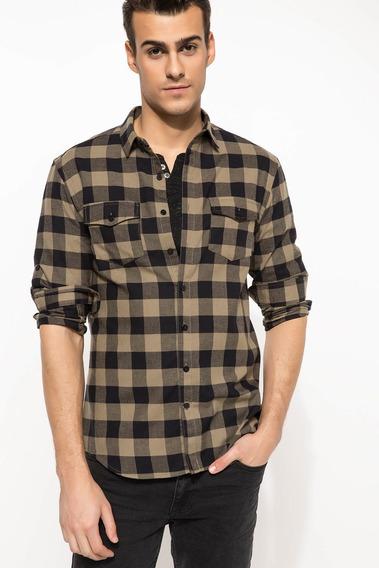 Camisa Manga Larga I3698az_kh267 Para Hombre Caqui
