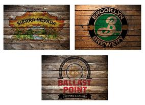 Quadros Madeira Cerveja Ballast Point Sierra Nevada Brooklyn