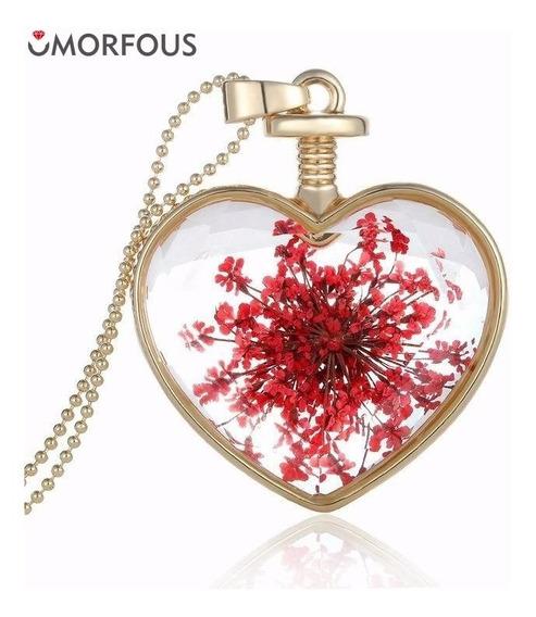 Colar Coração De Vidro Com Flor Seca Vermelha