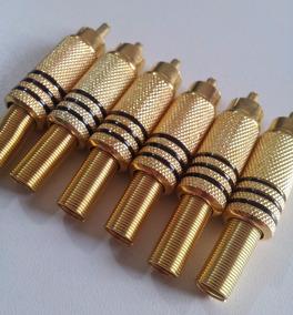 Kit C/ 06 Plug Rca Metal Dourado 6mm