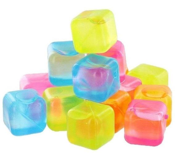 24 Cubos De Gelo Reutilizáveis Artificiais Coloridos Zf2357