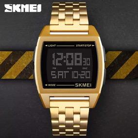 Relógio Social Esportivo Skmei Dourado Inoxidável Lançamento