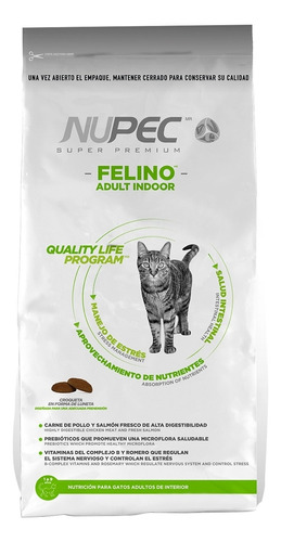 Alimento Nupec Indoor para gato adulto sabor pollo/salmon/arroz en bolsa de 3kg