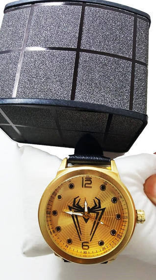 Relógio Homem Aranha Spyder Man Dourado Gold Couro Top