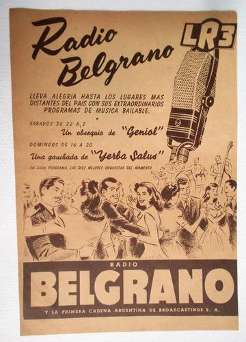 Clipping Antigua Publicidad Radio Belgrano Yerba Salus 1944 ...