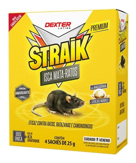 Raticida Straik 2 Caixas Com 40 Sachês 25g Veneno Ratos