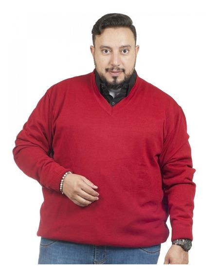 Malha Plus Size Gola V - Vermelho