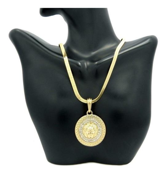 Cadena Y Medalla De Medusa De 10mm En Oro Laminado De 14k
