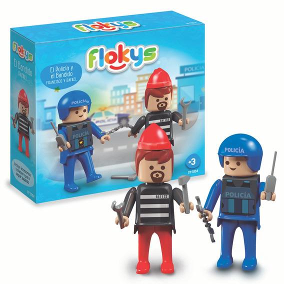 Bloques Estación De Policía Con 2 Figuras Accesorios Flocky