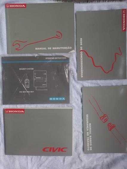 5 Manuais Completo Livros Honda Civic Lx 1998 Proprietário