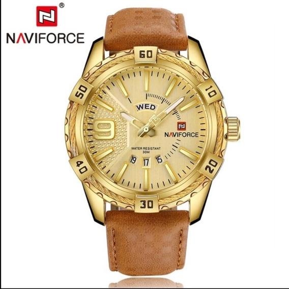 Relógios Masculino Original De Couro Dourado Naviforce Novo