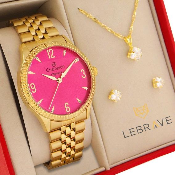 Relógio Champion Feminino Dourado Rosa + Embalagem Presente