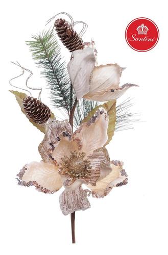 Flor Navideña Artificial Con Piñas Beige