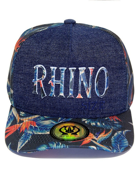 Boné Rhino Size Trucker Aba Curva Jeans E Floral