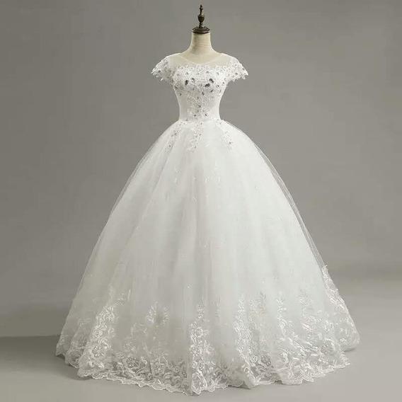Vestido De Noiva Princesa Coração Manga Curta - Frete Grátis