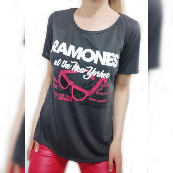 Remera De Mujer Ramones Gris