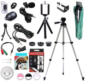 Kit Youtuber Microfone De Lapela Celular + Tripé 1,30m Flash
