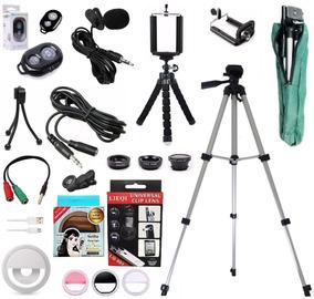 Kit Youtuber Microfone De Lapela Celular + Tripé 1,30m Flash