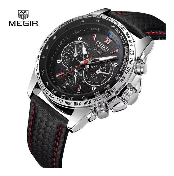 Relógio De Pulso Masculino Megir 1010 Couro