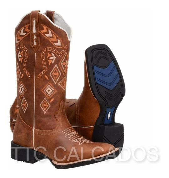 Bota Texana Country Bordada Modelo Novo Ttc90