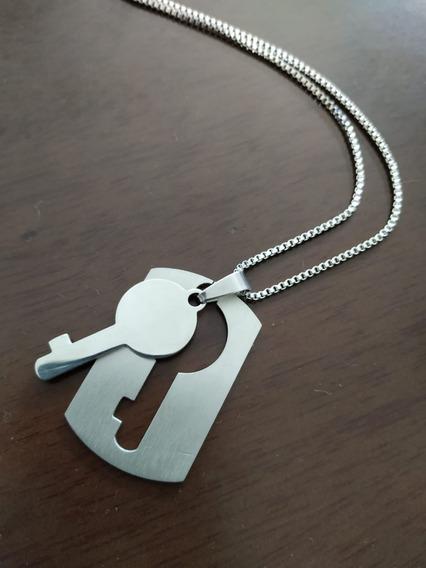 Colar Unissex Key Em Aço Inox 55 Cm.