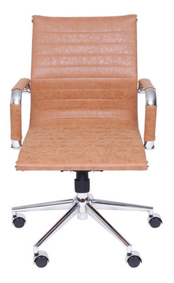 Cadeira De Escritório Baixa Retrô - Caramelo - Tommy Desig