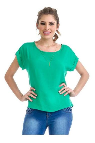 Blusa Dama Verde Devendi Con Collar Incluido