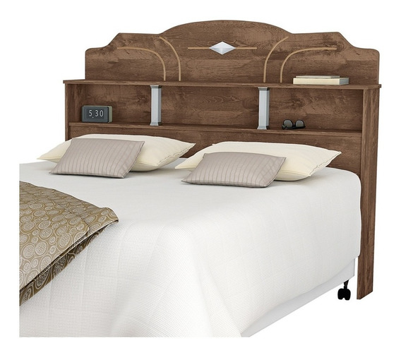 Cabeceira de cama Loja DoceLar Estrela Casal 140cm x 122cm castanho