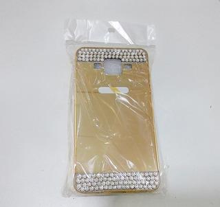 Capa Bumper Luxo Dourada Espelhada Com Pedras J5 2015