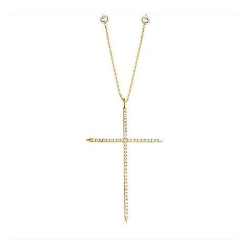 Corrente Pingente Cruz Zircônias Folheado A Ouro - Crucifixo