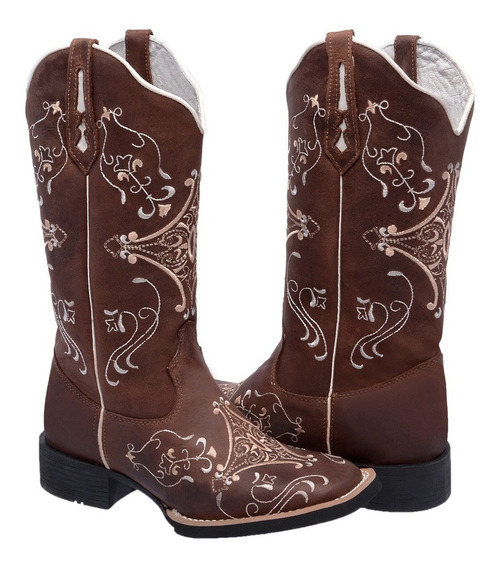 Bota Texana Feminina Hopper Cano Alto Couro Bordada Country