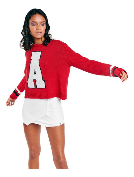 Sweater Letter Hilo De Algodón Estampa Letra Mujer 47street