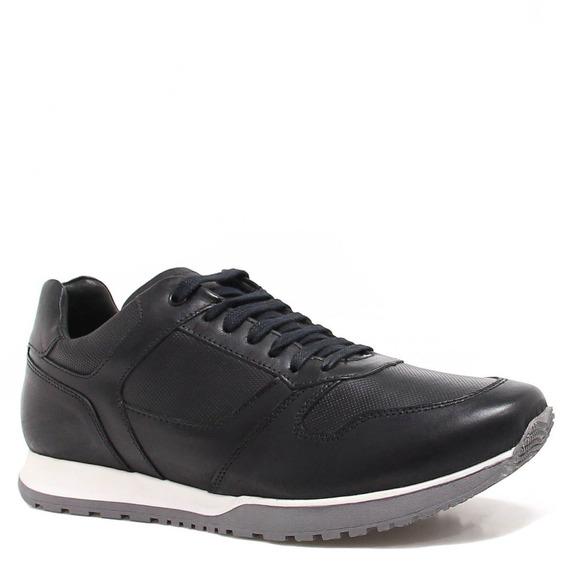 Sapatênis Zariff Shoes Casual Couro Preto Br501