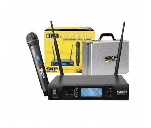 Microfone Skp Sem Fio Uhf 295 Kit Com Maleta