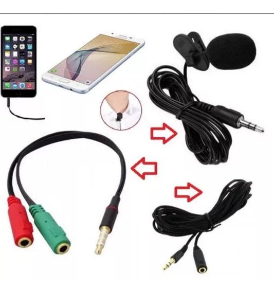 Microfone De Lapela + Adaptador + Extensor 1.50m