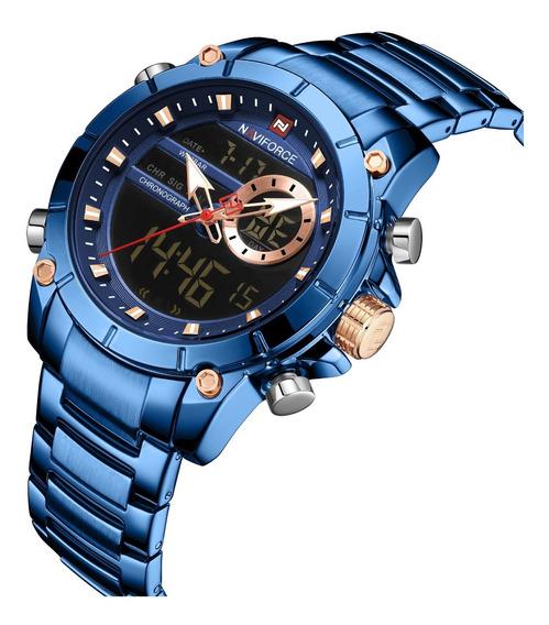 Reloj Hombre Militar Digital Naviforce Original Azul Nf9163