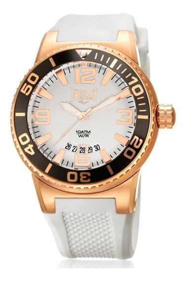 Relógio Pulso Everlast Rose Gold Pulseira Silicone Esportivo - Cor Branco