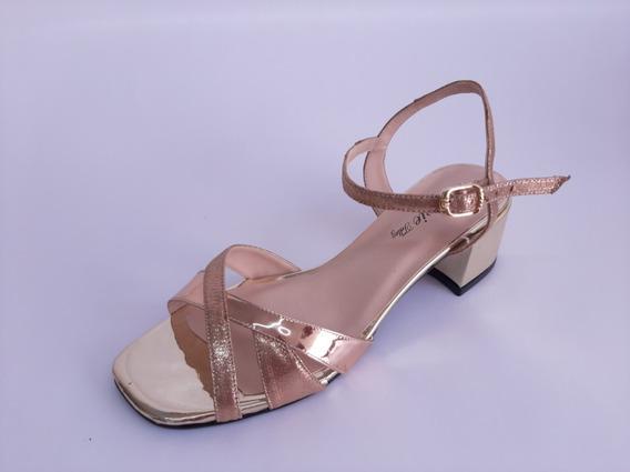 Zapato Dama Tacon Alto 4cm, Color Oro Rosado Estilo 1081