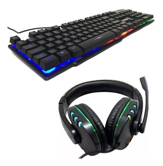 Kit Gamer Teclado Semi Mecânico Led + Headset 7.1 Led Usb