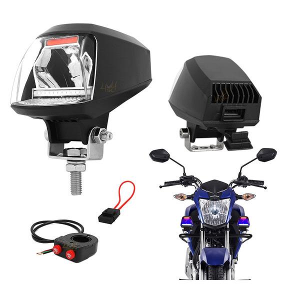 Farol De Milha Moto Policia Ronda + Pisca Tp Giroflex + Usb