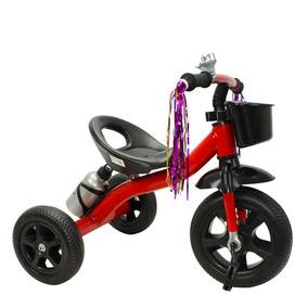 Triciclo Ferro Infantil Rodas Borracha, Garrafa - Vermelho.